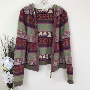 Anthropologie Moth Aztec boho cardigan hoodie READ